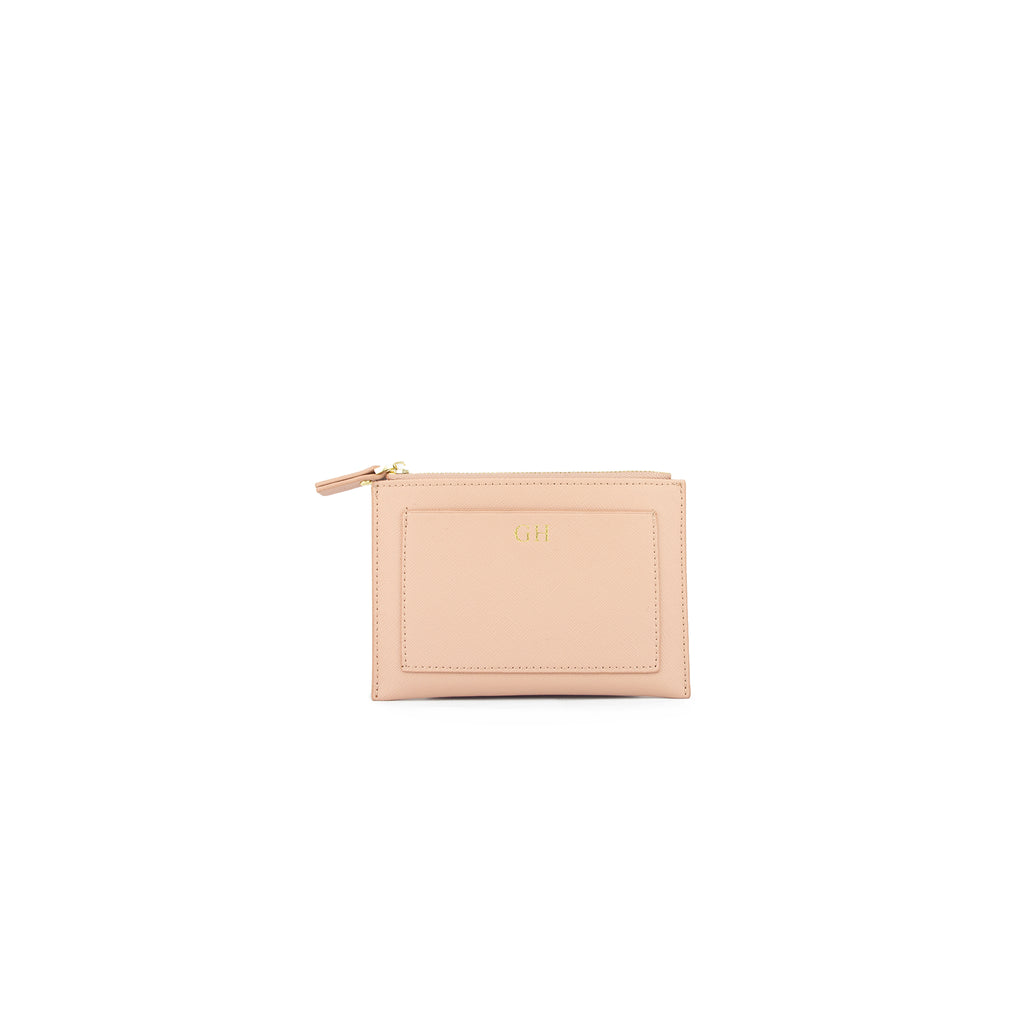 Personalised Nude Monogrammed Saffiano Leather Coin Purse
