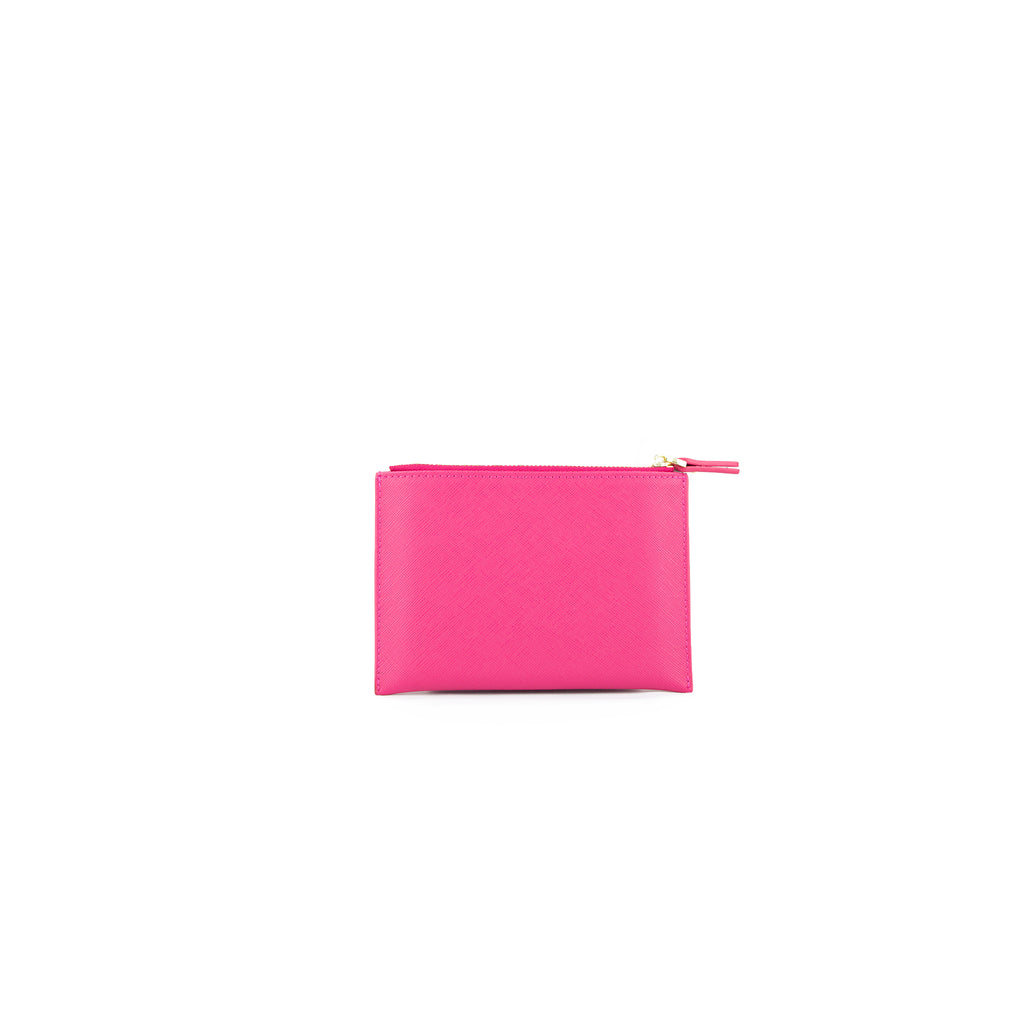 Personalised Coin Purse - Pink Saffiano Leather