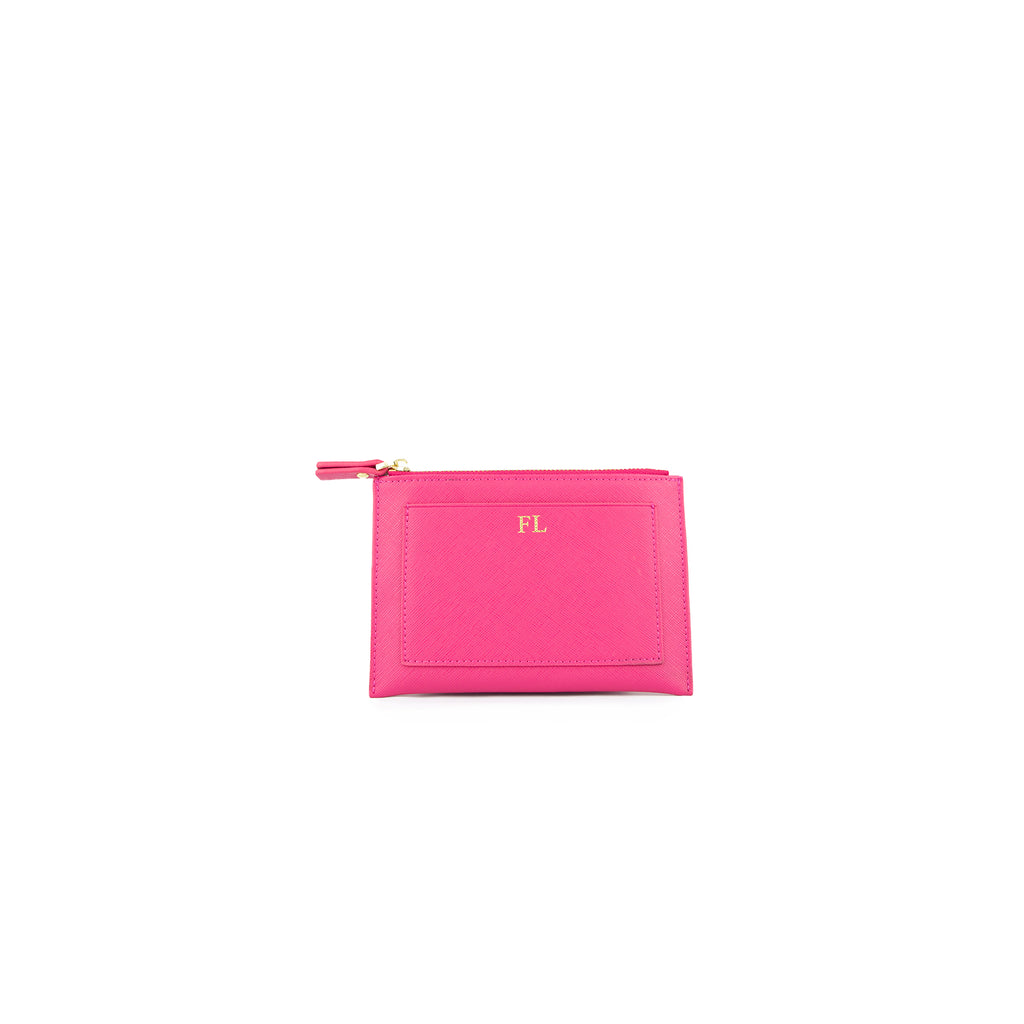 Personalised Pink Monogrammed Saffiano Leather Coin Purse