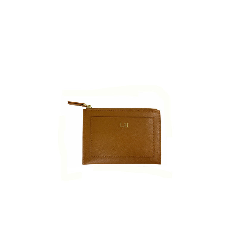 Personalised Coin Purse - Tan Saffiano Leather