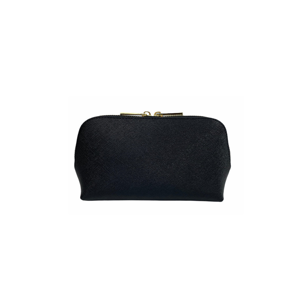 Personalised Cosmetic Bag - Black Saffiano Leather
