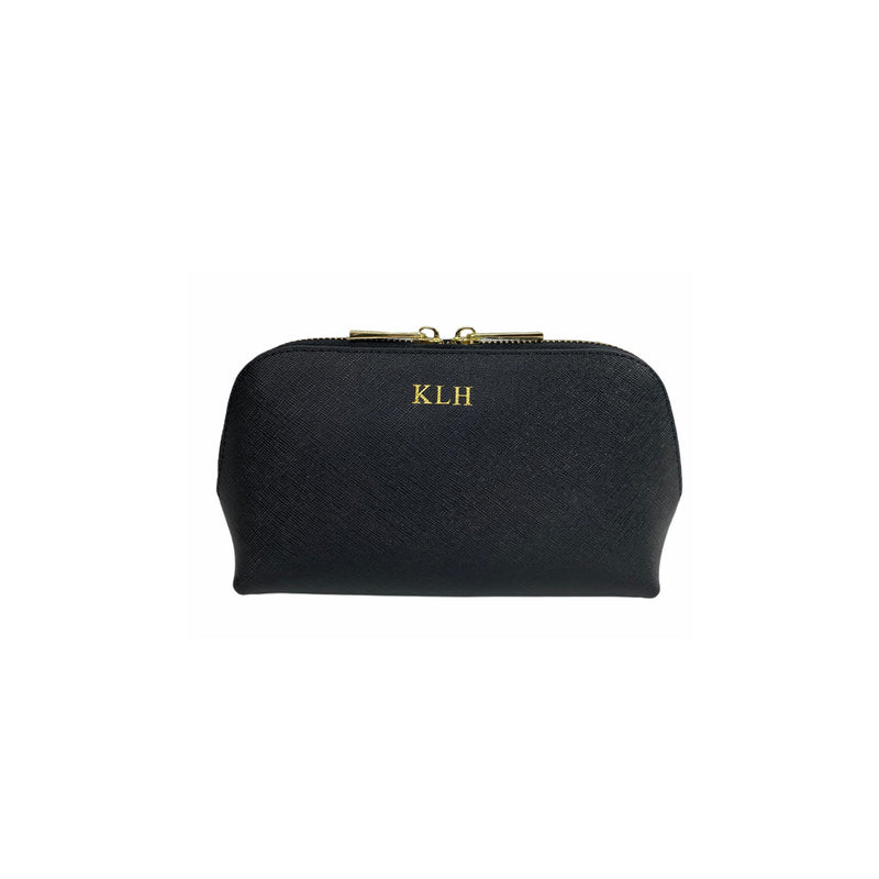 Personalised Black Monogrammed Saffiano Leather Cosmetic Bag