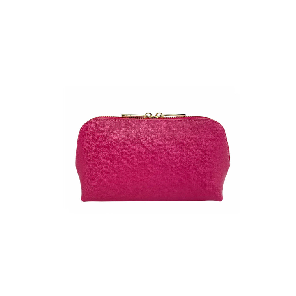 Personalised Cosmetic Bag - Pink Saffiano Leather