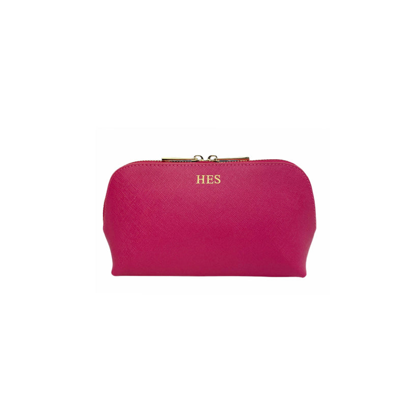 Personalised Pink Monogrammed Saffiano Leather Cosmetic Bag