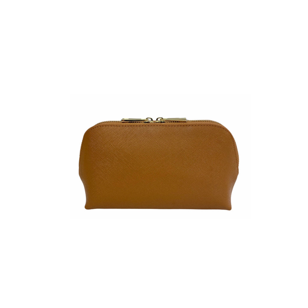 Personalised Cosmetic Bag - Tan Saffiano Leather