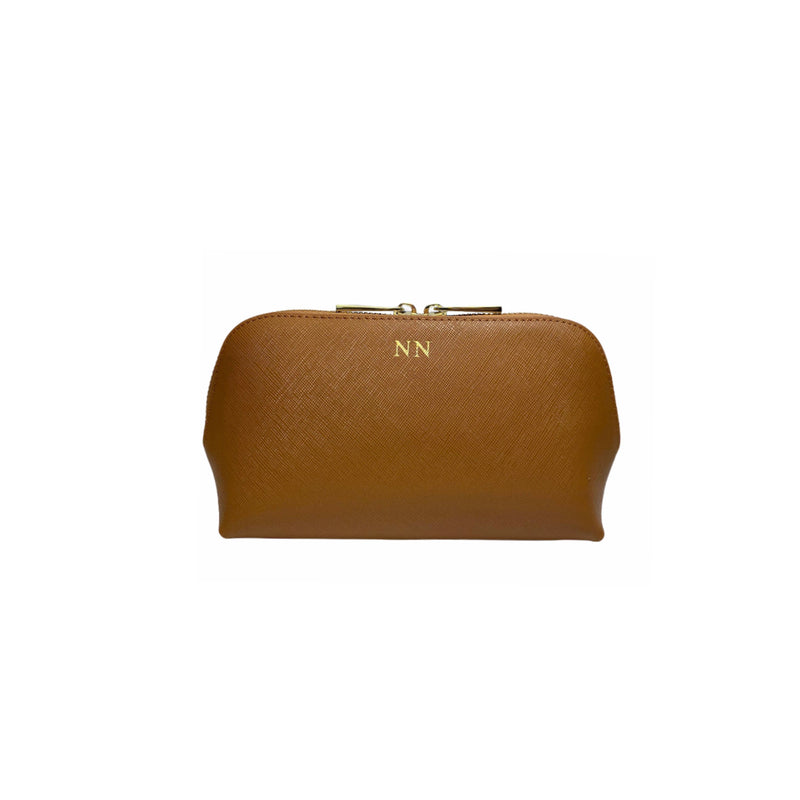 Personalised Tan Monogrammed Saffiano Leather Cosmetic Bag