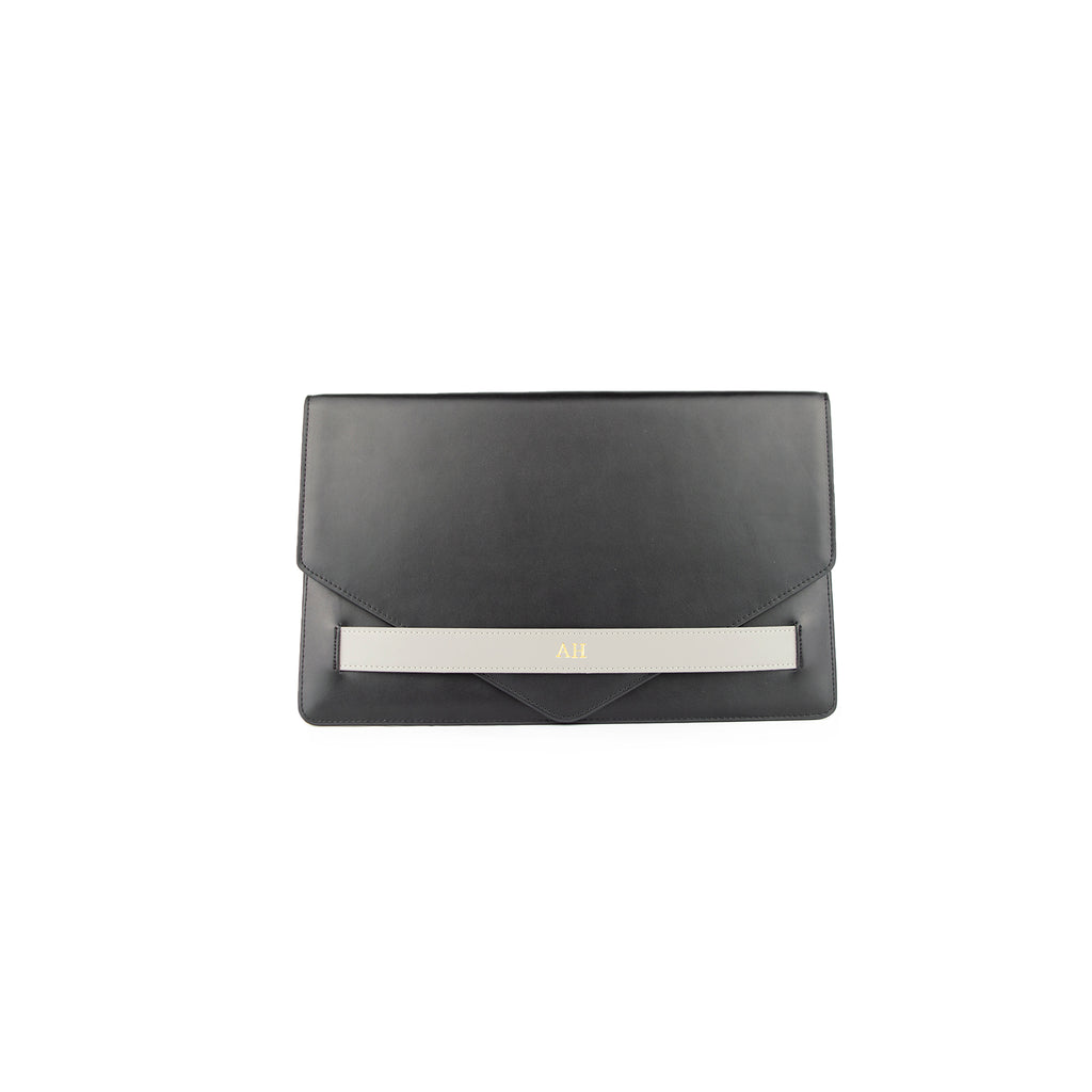 Personalised Black/Grey Monogrammed Smooth Leather Envelope Clutch Bag
