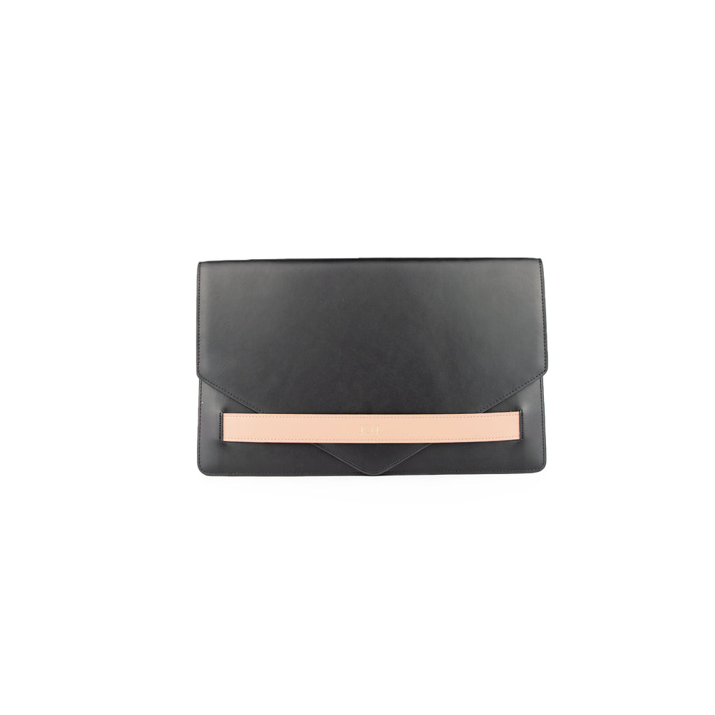 Personalised Black/Nude Monogrammed Smooth Leather Envelope Clutch Bag