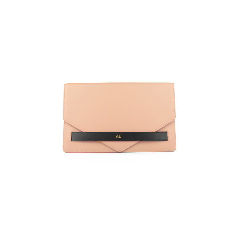 Personalised Nude Monogrammed Smooth Leather Envelope Clutch Bag