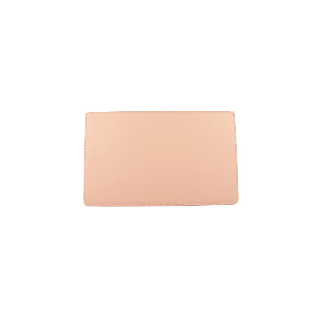 Personalised Envelope Clutch Bag - Nude with Black Smooth Leather