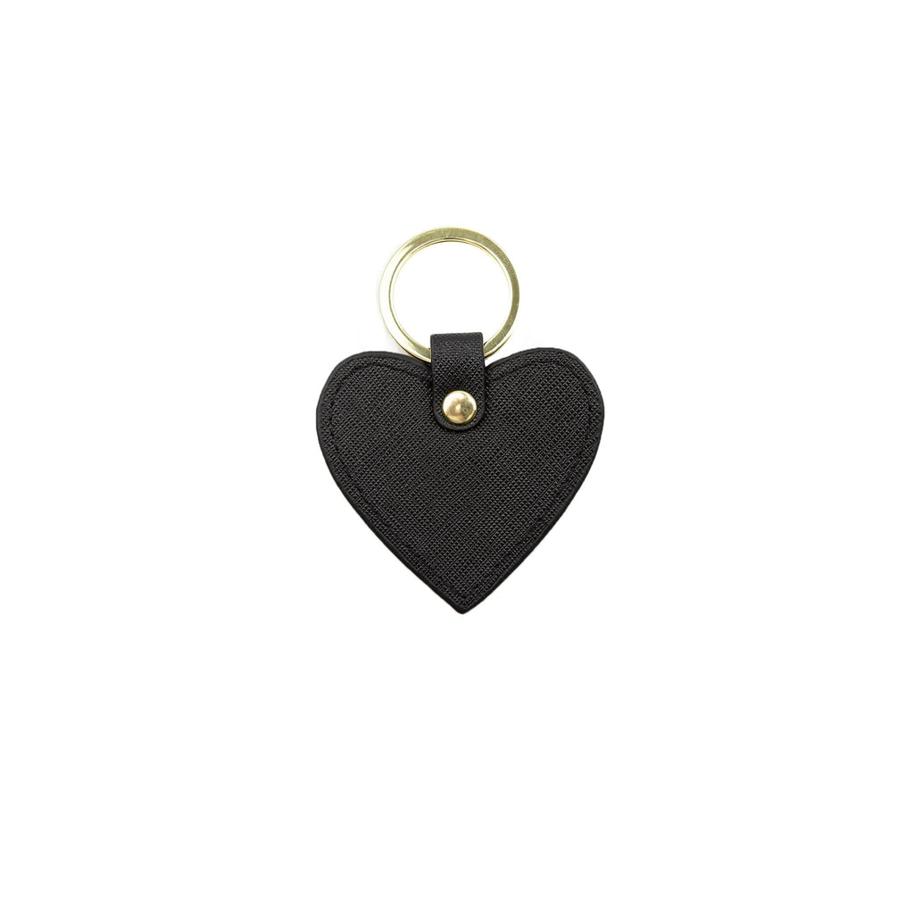 Personalised Heart Keyring - Black Saffiano Leather