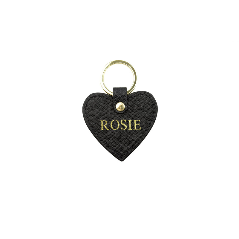 Personalised Black Monogrammed Saffiano Leather Heart Keyring