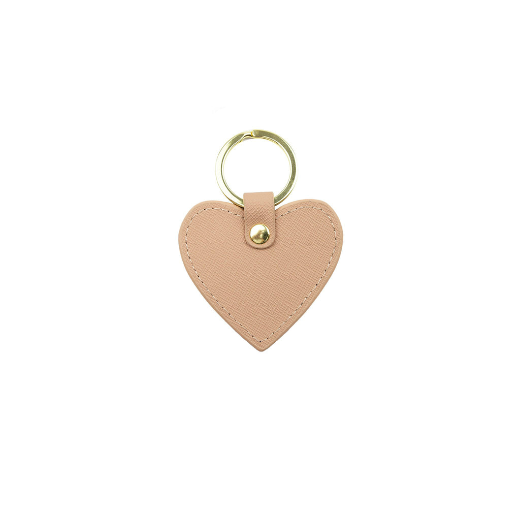 Personalised Heart Keyring - Nude Saffiano Leather
