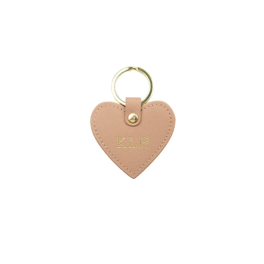 Personalised Nude Monogrammed Saffiano Leather Heart Keyring