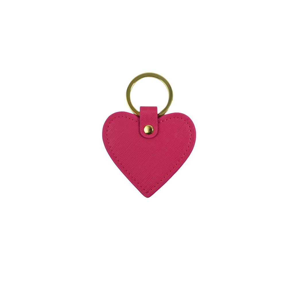 Personalised Heart Keyring - Pink Saffiano Leather
