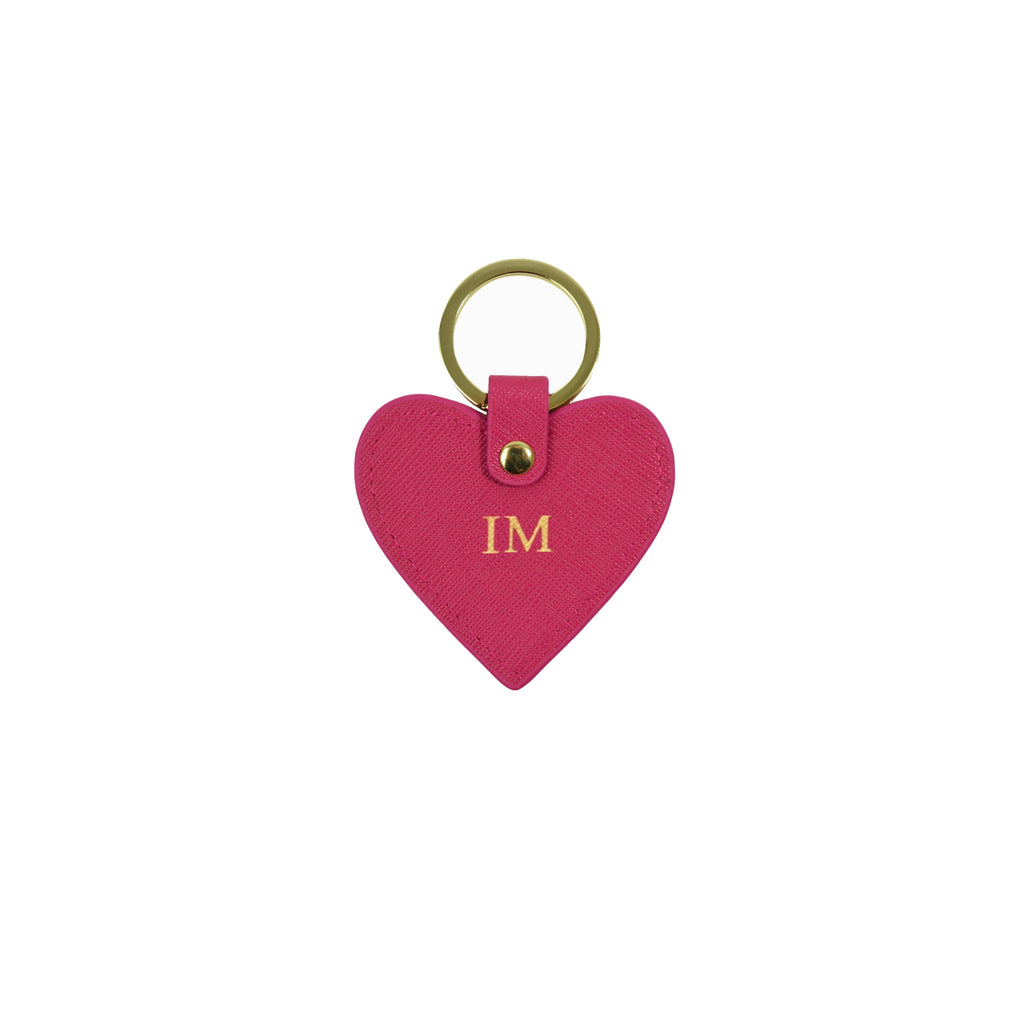 Personalised Pink Monogrammed Saffiano Leather Heart Keyring