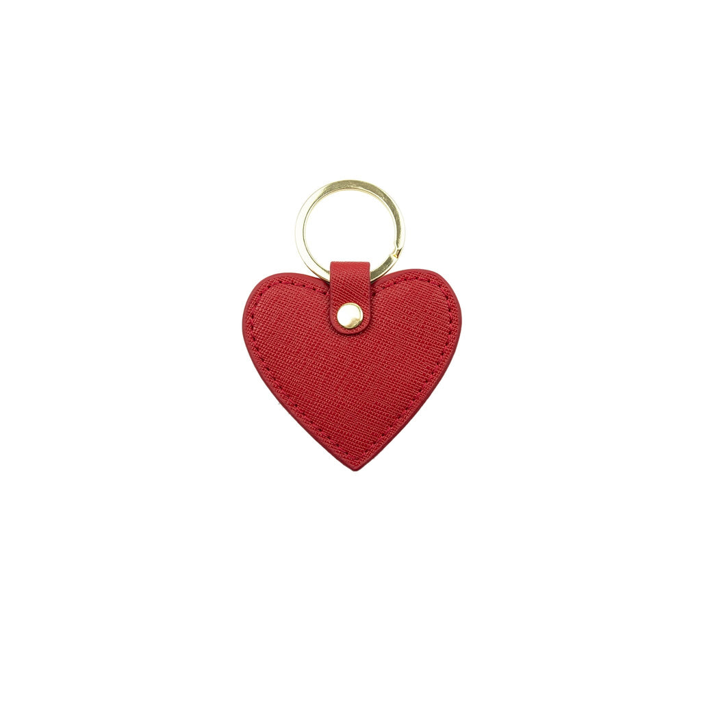 Personalised Heart Keyring - Red Saffiano Leather