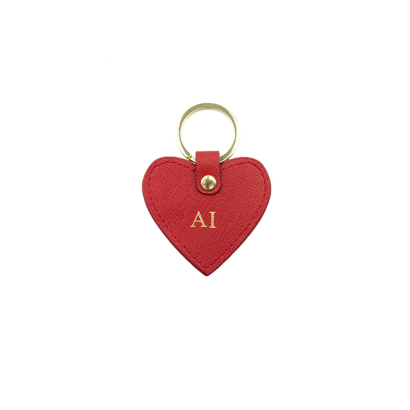 Personalised Red Monogrammed Saffiano Leather Heart Keyring