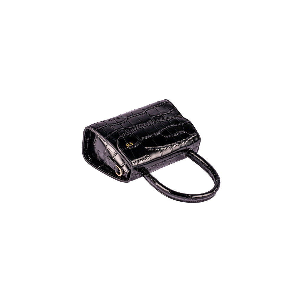 Personalised Mini Cross Body Bag - Black Croc Leather