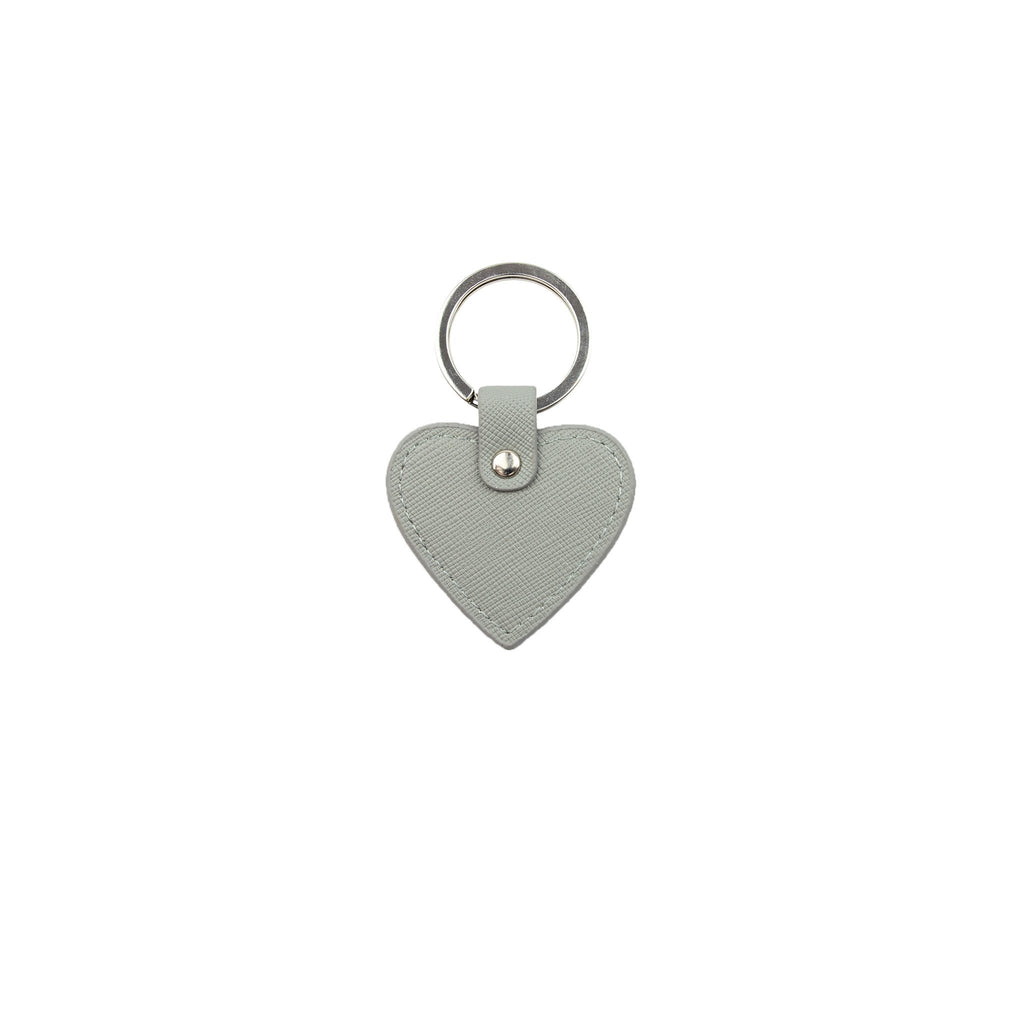 Personalised Mini Heart Keyring - Grey Saffiano Leather