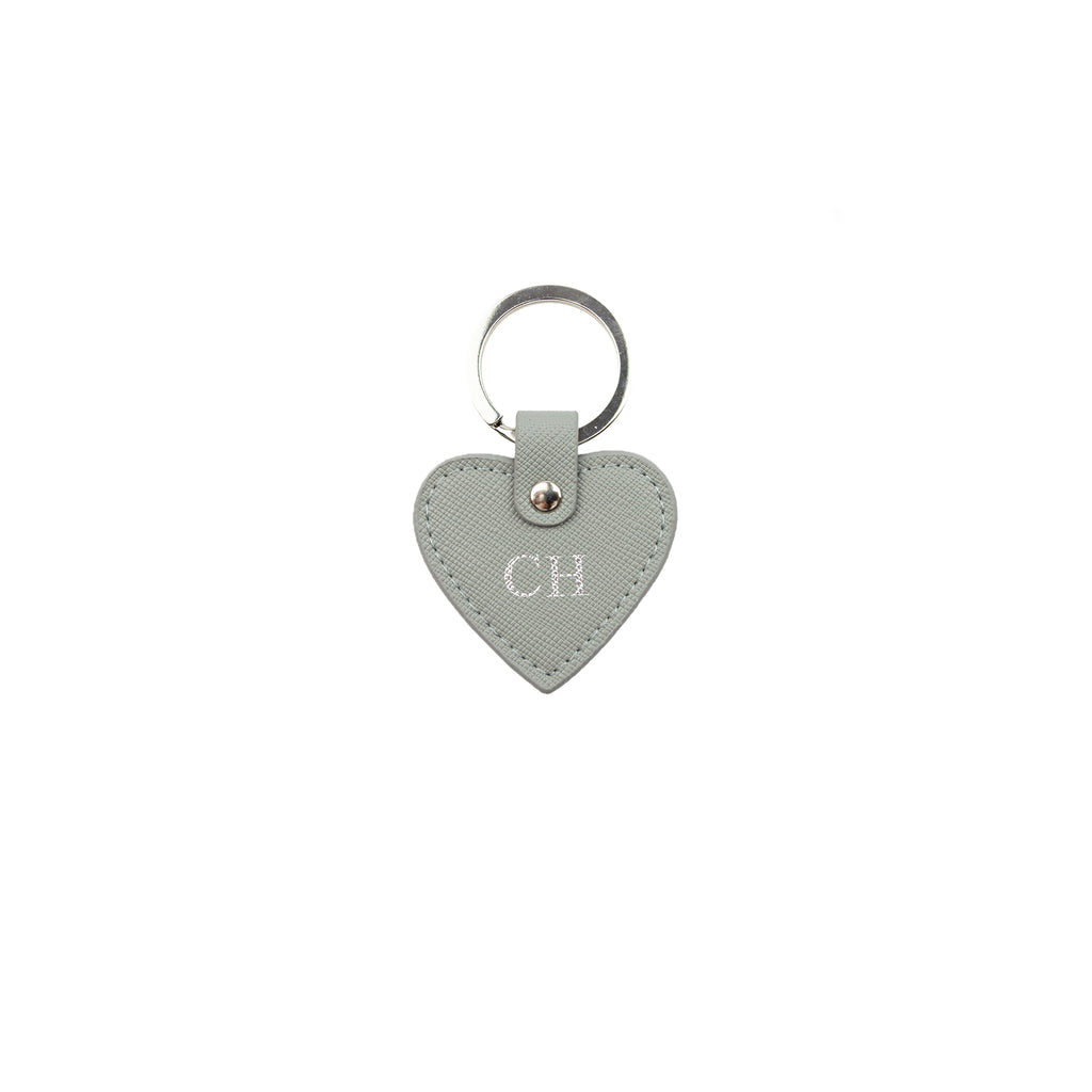 Personalised Grey Monogrammed Saffiano Leather Mini Heart Keyring