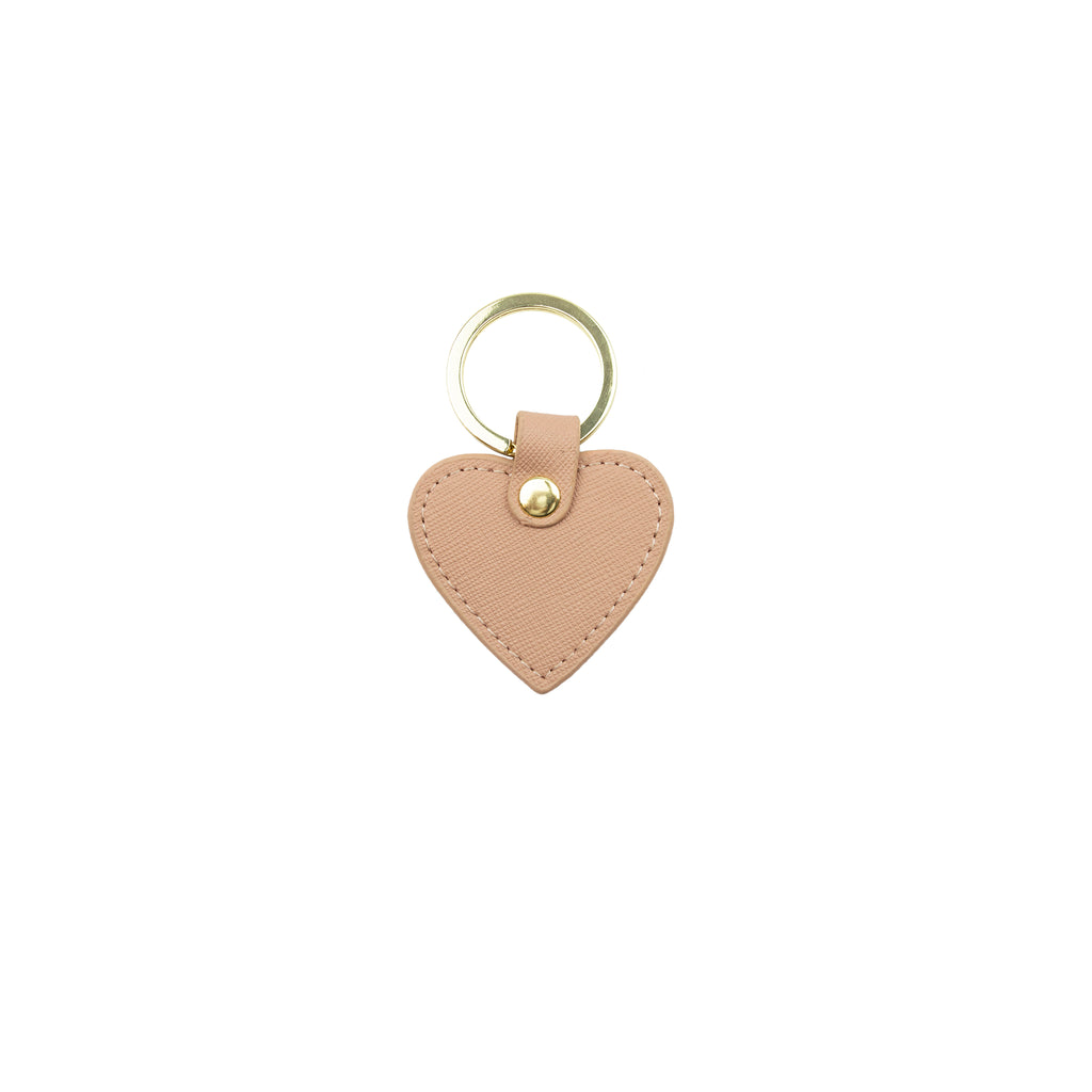 Personalised Mini Heart Keyring - Nude Saffiano Leather