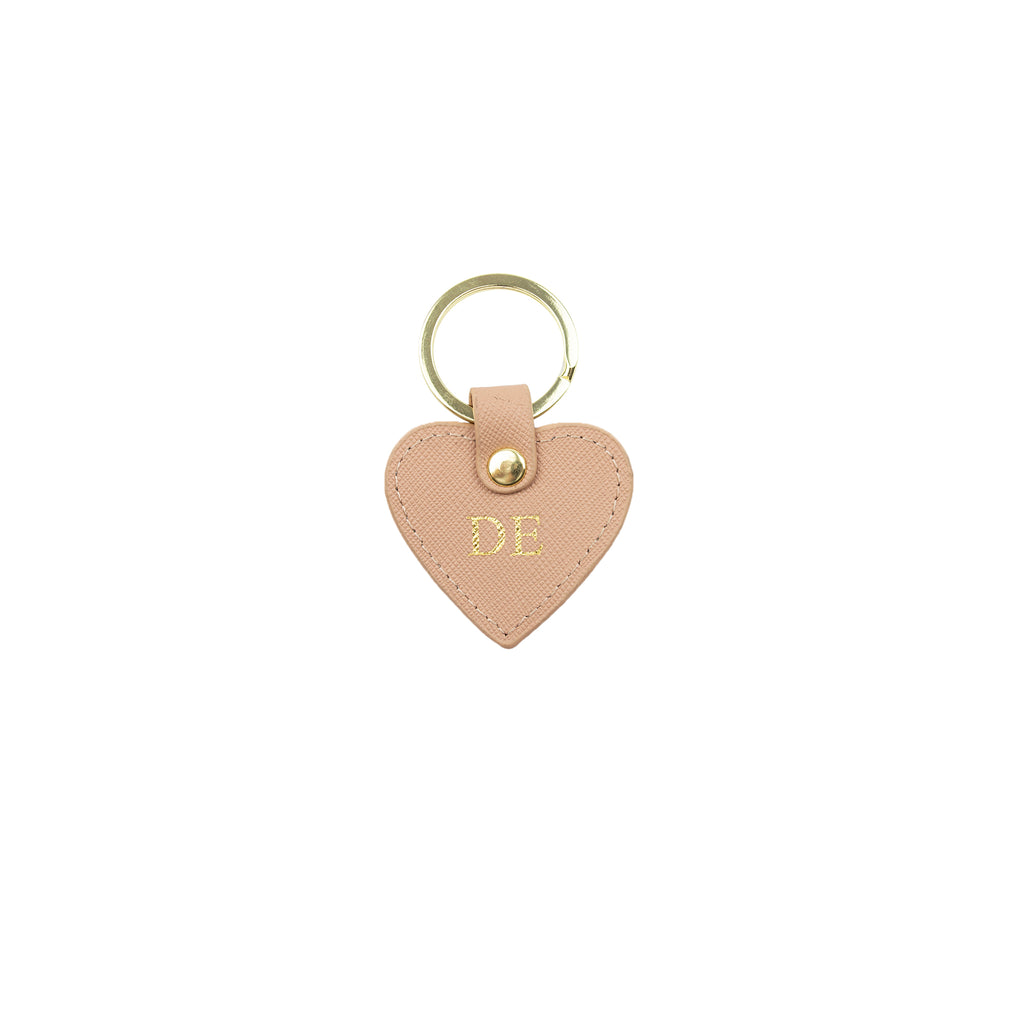 Personalised Nude Monogrammed Saffiano Leather Mini Heart Keyring