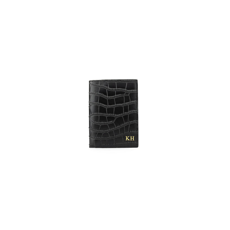 Personalised Black Monogrammed Croc Effect Leather Passport Cover