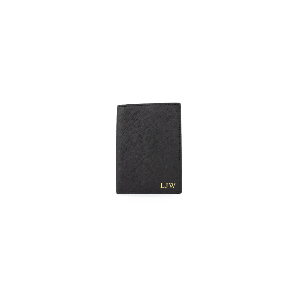 Personalised Black Monogrammed Saffiano Leather Passport Cover