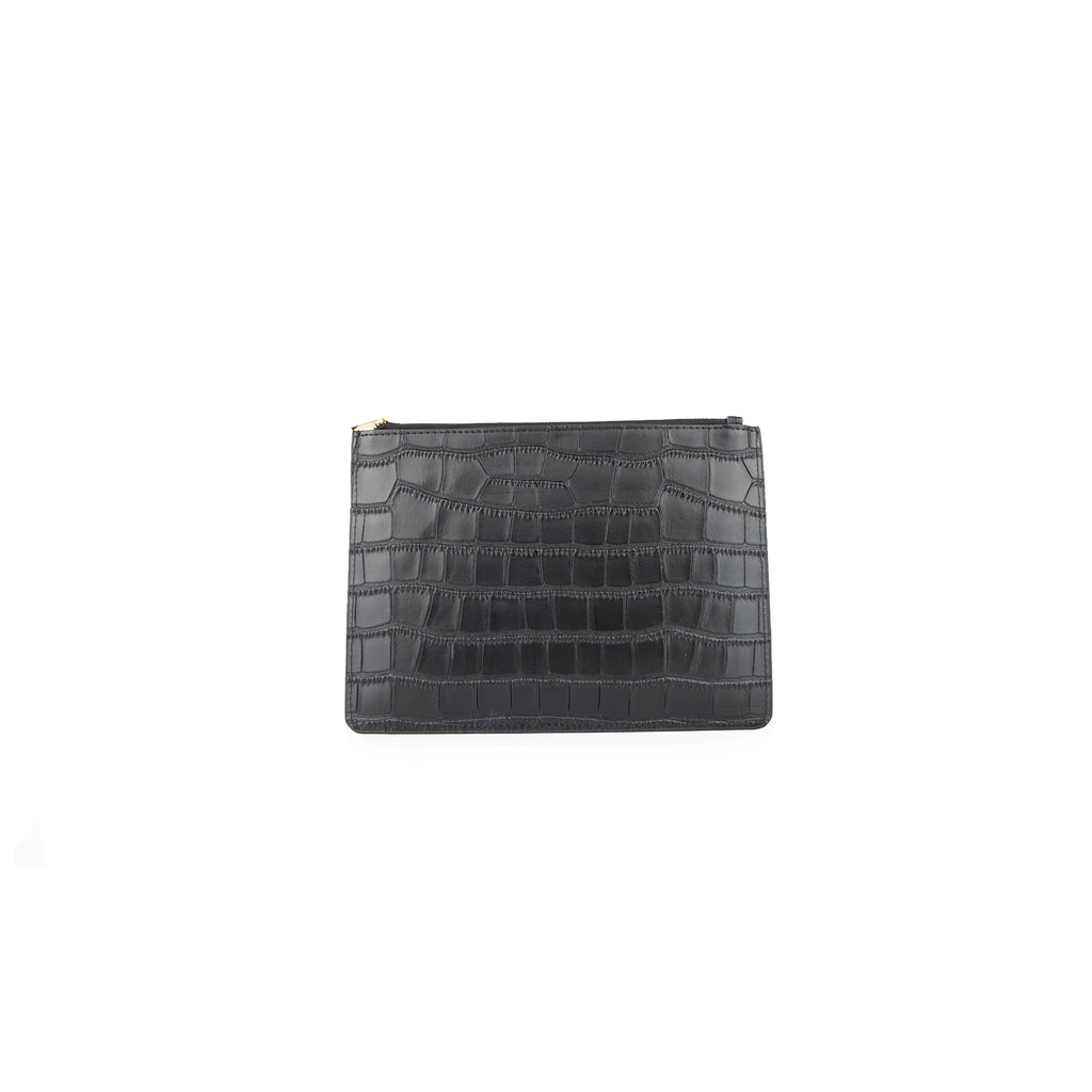 Personalised Pouch - Black Croc Leather