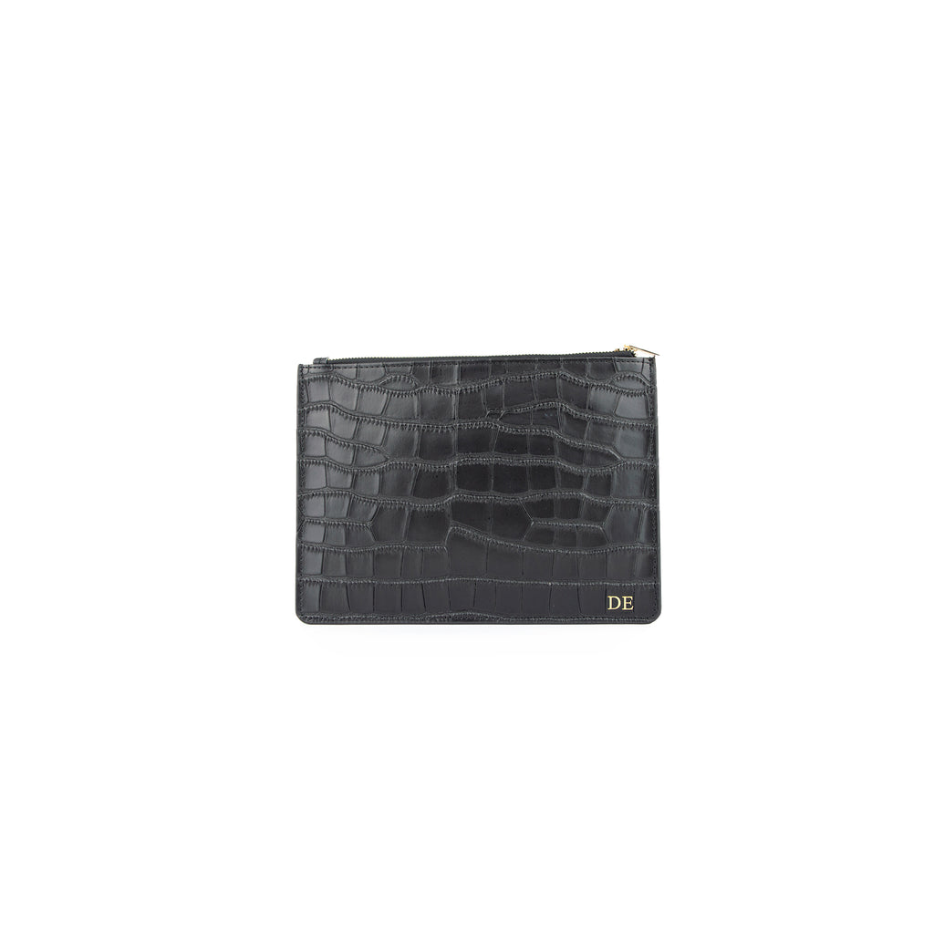 Personalised Black Monogrammed Croc Effect Leather Pouch