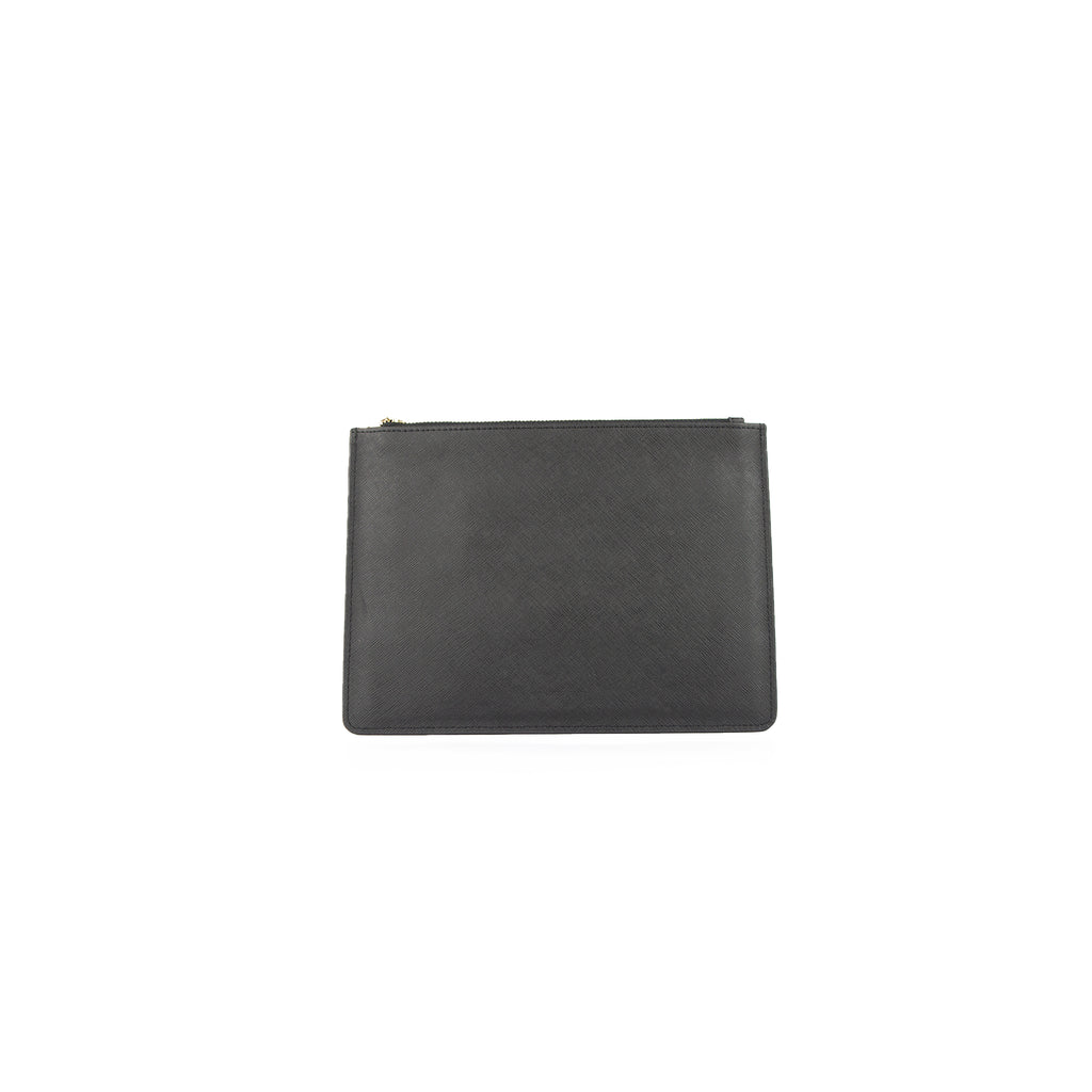 Personalised Pouch - Black Saffiano Leather