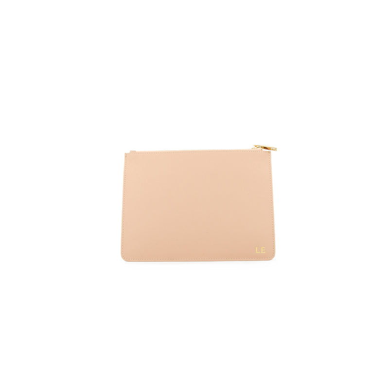 Personalised Nude Monogrammed Saffiano Leather Pouch