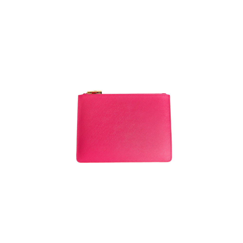 Personalised Pouch - Pink Saffiano Leather