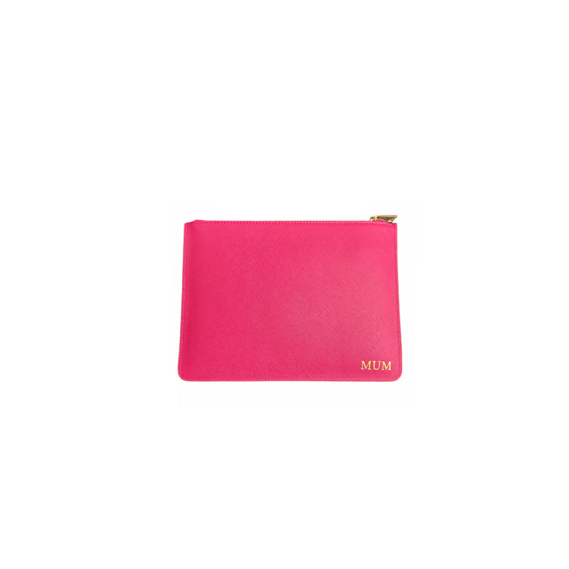 Personalised Pink Monogrammed Saffiano Leather Pouch
