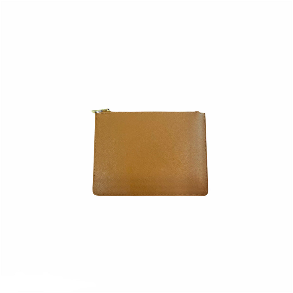 Personalised Pouch - Tan Saffiano Leather