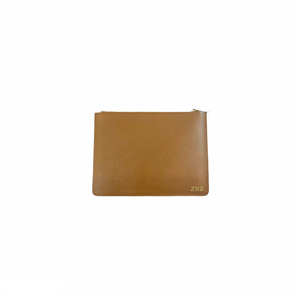 Personalised Tan Monogrammed Saffiano Leather Pouch