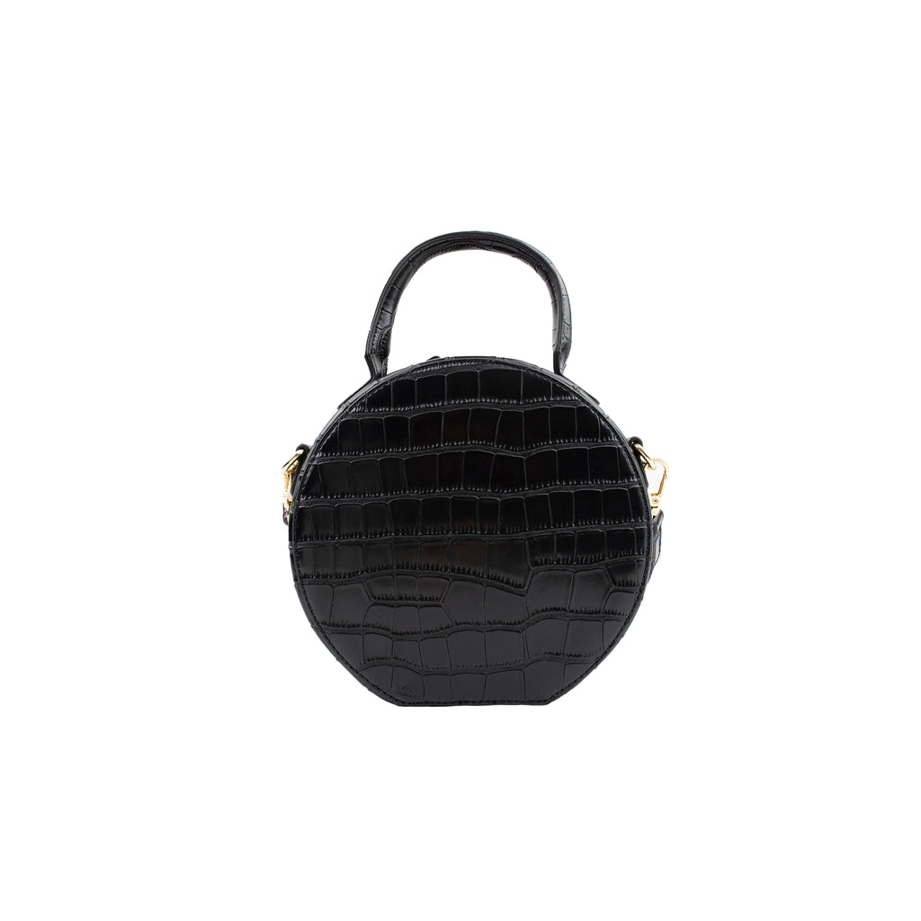 Personalised Round Cross Body Bag - Black Croc Vegan Leather