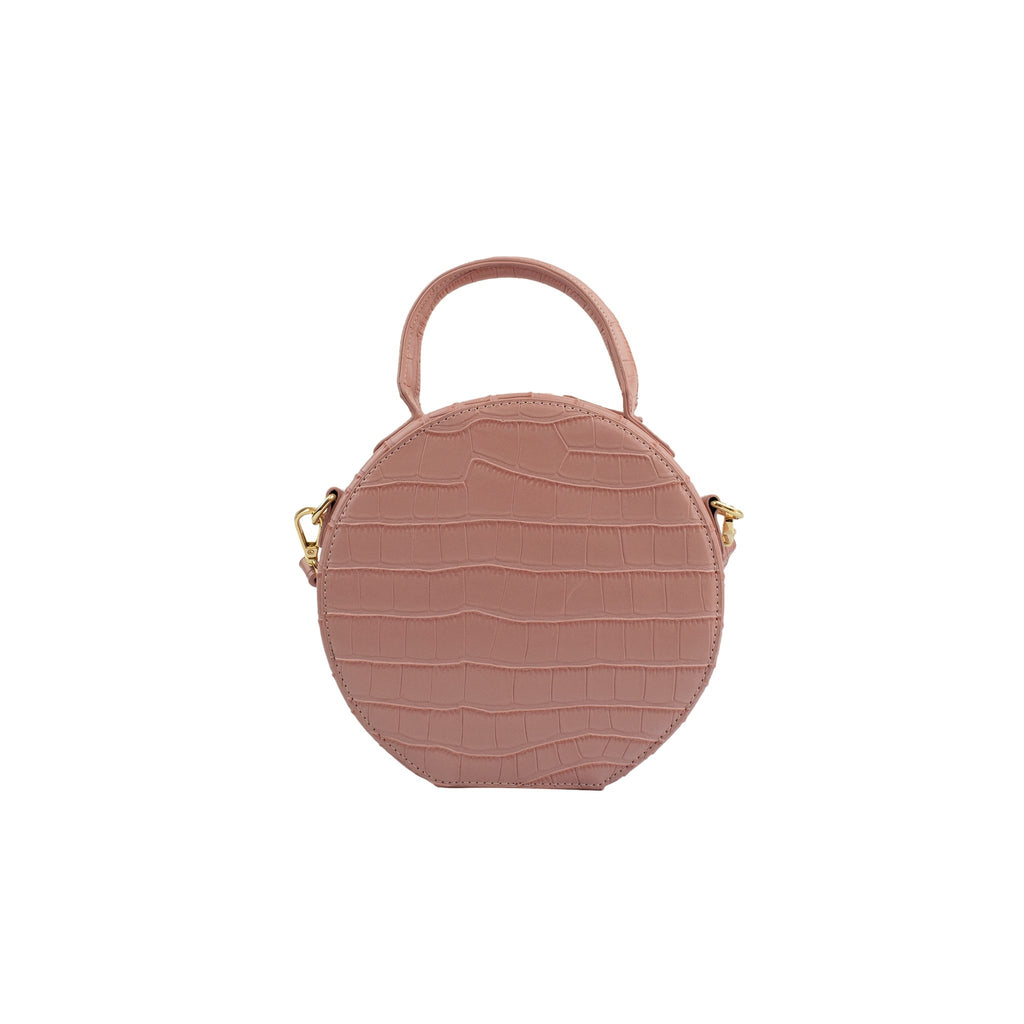 Personalised Round Cross Body Bag - Blush Pink Croc Vegan Leather