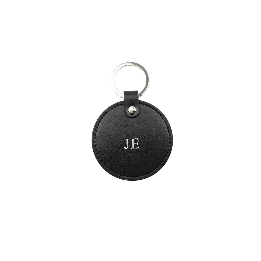 Personalised Black Monogrammed Smooth Leather Round Keyring