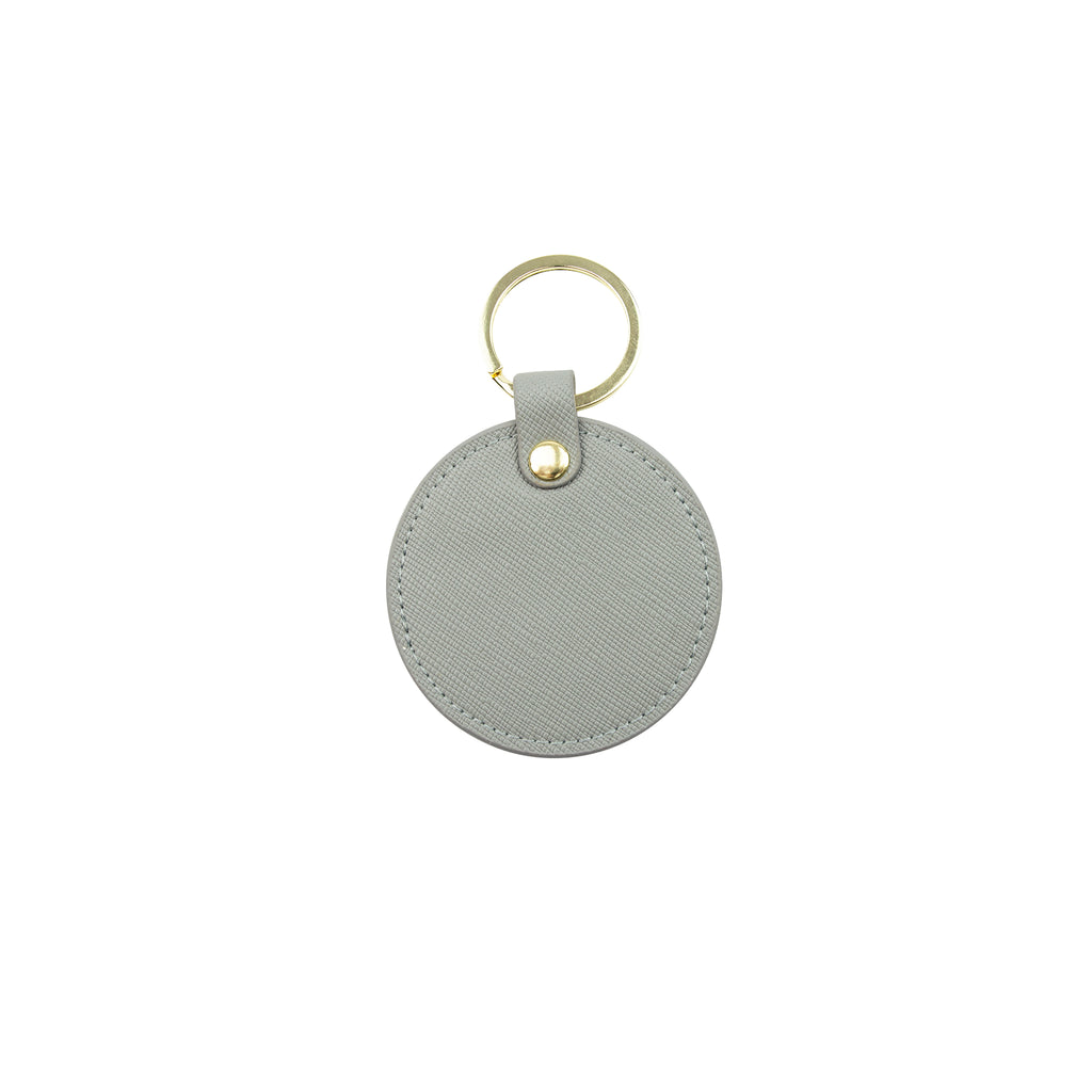 Personalised Round Keyring - Grey Saffiano Leather