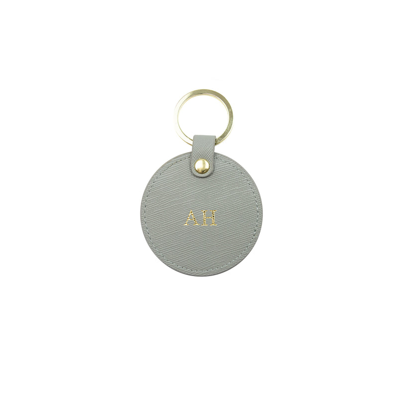 Personalised Grey Monogrammed Saffiano Leather Round Keyring