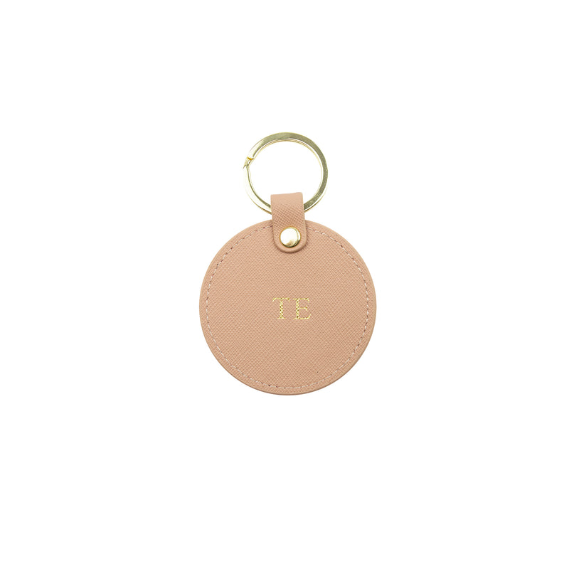 Personalised Nude Monogrammed Saffiano Leather Round Keyring