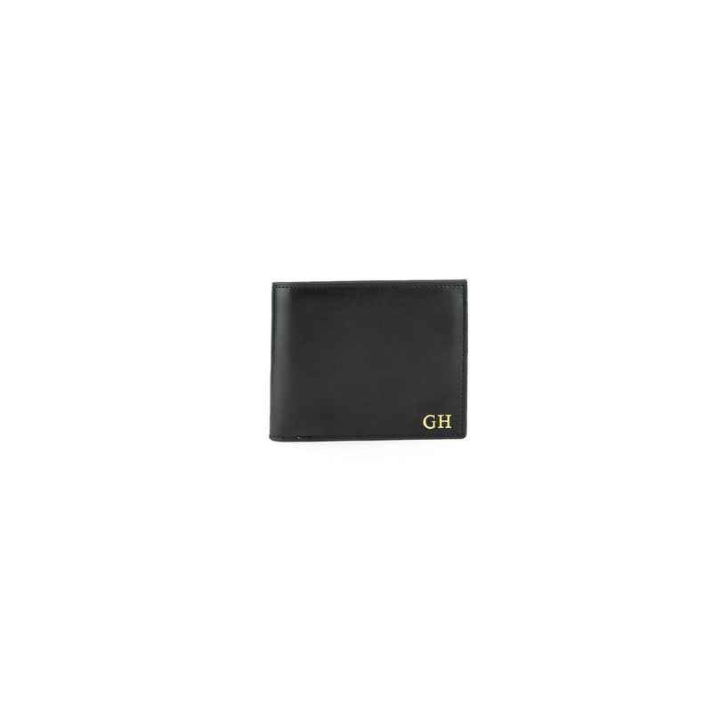 Personalised Black Monogrammed Smooth Leather Wallet