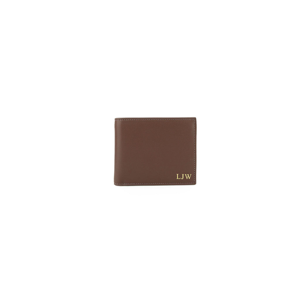 Personalised Brown Monogrammed Smooth Leather Wallet