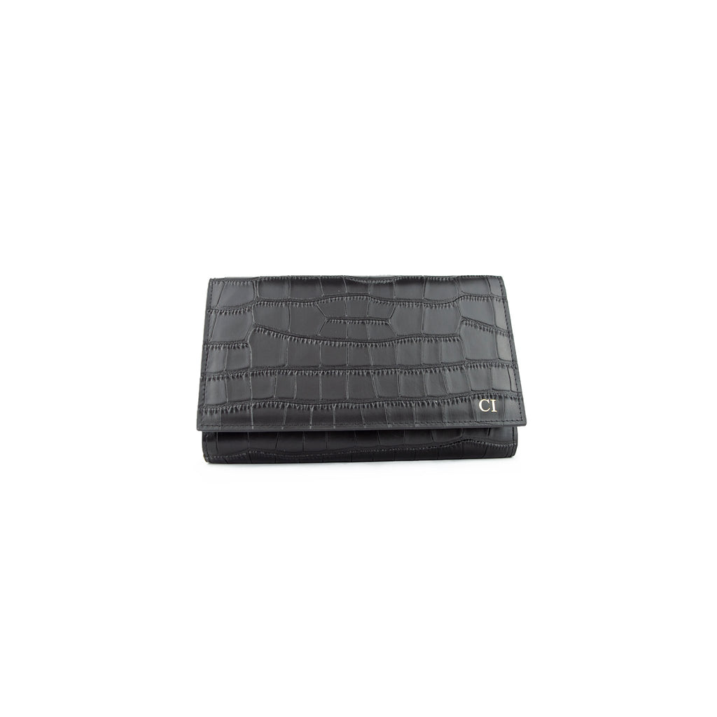 Personalised Black Monogrammed Croc Effect Travel Document Holder / Clutch Bag