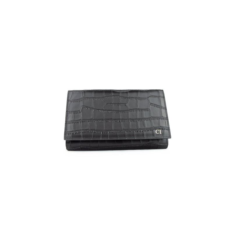 Personalised Wallet Clutch - Black Croc Leather