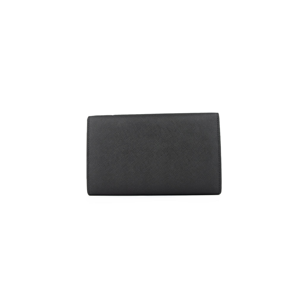Personalised Wallet Clutch - Black Saffiano Leather