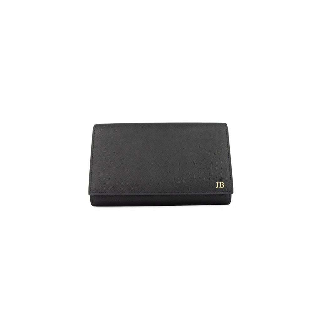 Personalised Black Monogrammed Saffiano Leather Travel Document Holder / Clutch Bag