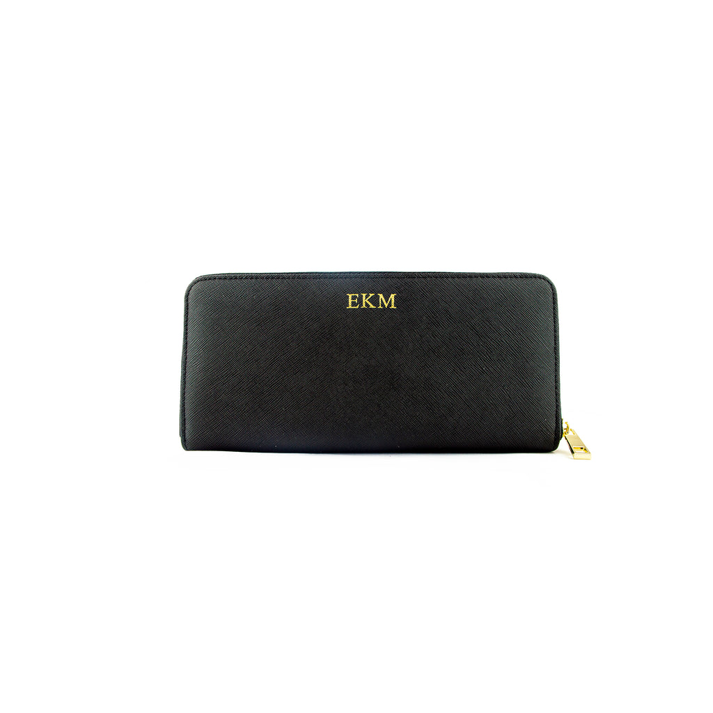 Personalised Black Monogrammed Saffiano Leather Zip Purse